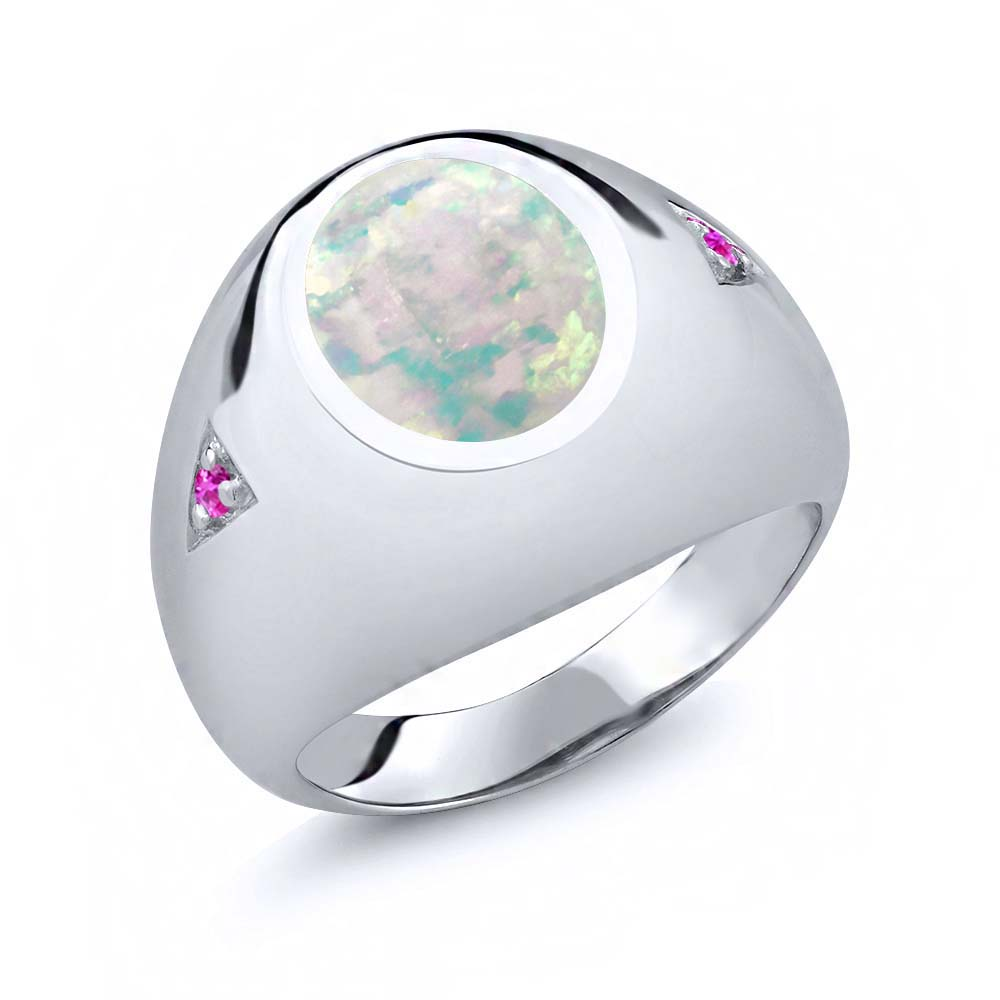 4.10 Ct Oval White Simulated Opal Pink Sapphire 925 Sterling Silver Men's Ring by
