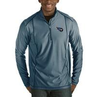 Tennessee Titans Antigua Tempo Half-Zip Pullover Jacket - Heather Navy