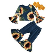Xingqing Toddler Baby Girls Sunflower Flare Sleeve Tops Bell-Bottoms Pants Headband Outfits 6 Months-5 Years