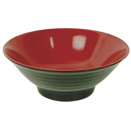 Thunder Group 5185JBR 42 Oz 8 1/2 Inch Asian Two Tone Melamine Red and Black Round Medium Noodle Bowl, DZ