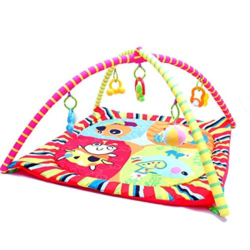 Baby Play Mat - Infant Activity Gym - Overhead Arches with Toys, Animals, Music and Sounds - Soft Padding for Tummy time or Back Play - By Dazzling Toys