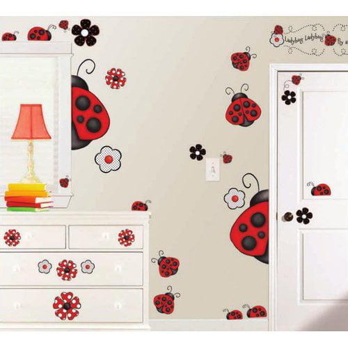 borders unlimited 38 piece ladybug super jumbo appliqu wall decal