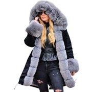 (Toponeto) Womens Long Sleeves Faux Fur Winter Jacket Parka Hooded Coat Fishtail Overcoat