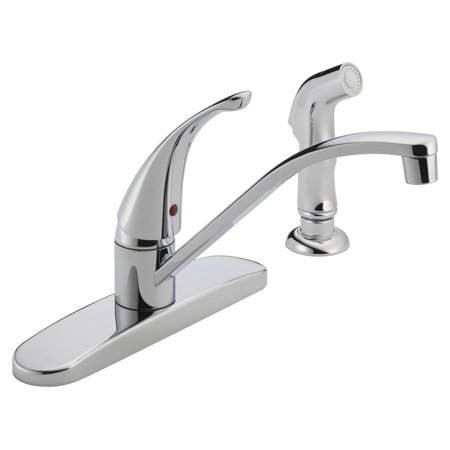 Peerless P188500LF Chrome Single Handle Kitchen Faucet with Side Spray Control Four Hole Kitchen Faucet