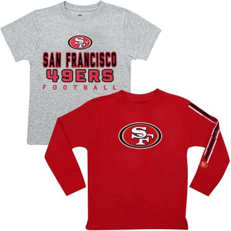 San Francisco 49ers Youth Fan Gear Intact T-Shirt Combo Pack - Gray/Scarlet - Yth L
