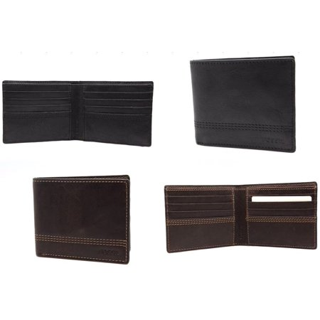 Fossil Men's Slim Bifold Wallet Genuine Leather Black 8 card Slots