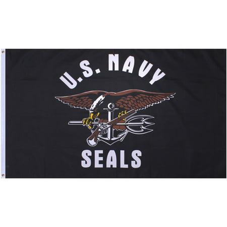 Black - US NAVY SEALS Flag with USN Emblem 3' x - Black Flag Edward