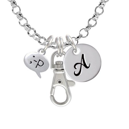 Emoticon :-P - Cheeky - A - Initial Badge Clip Necklace