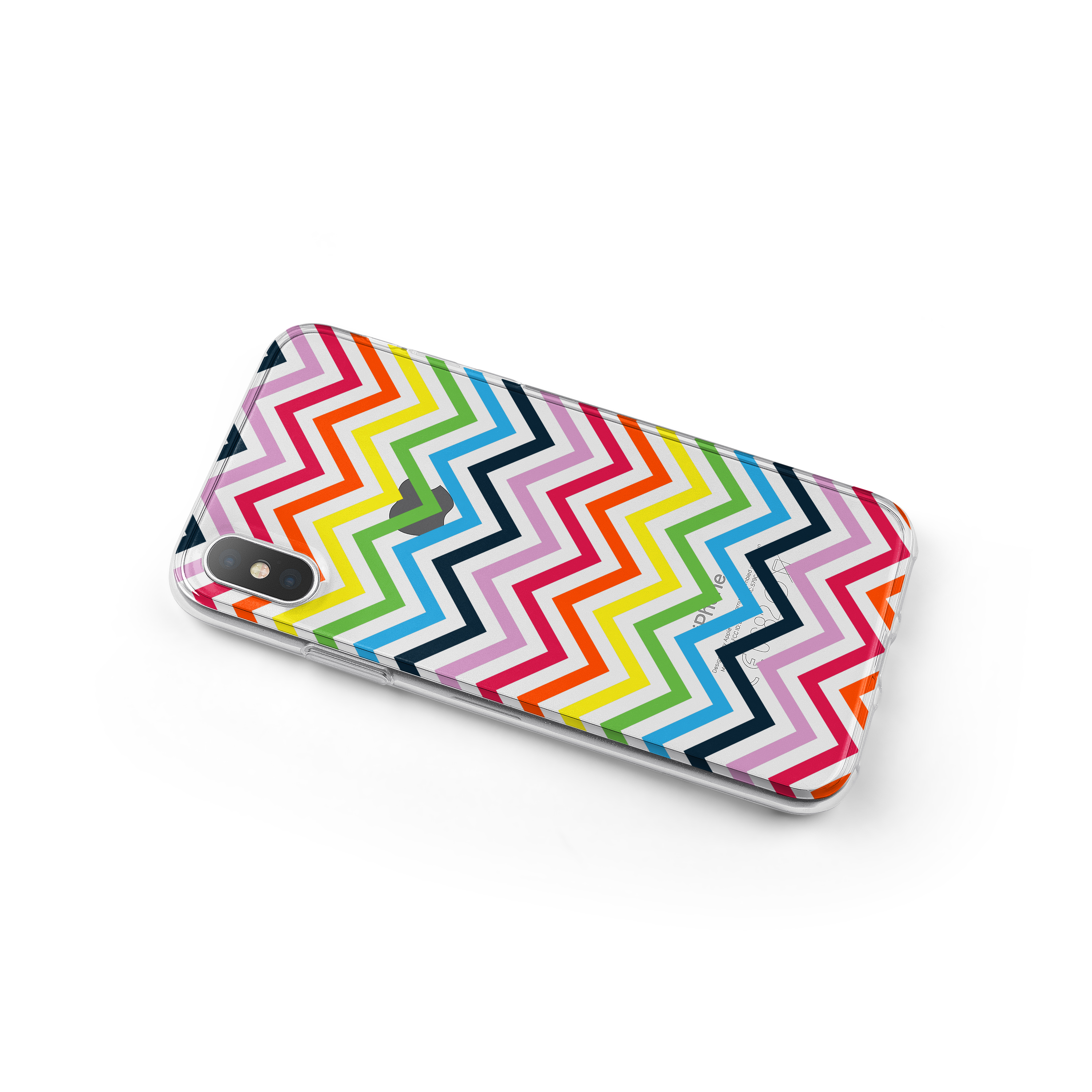 DistinctInk Clear Shockproof Hybrid Case for iPhone X / XS (NOT Max) - TPU Bumper, Acrylic Back, Tempered Glass Screen Protector - Rainbow Chevron
