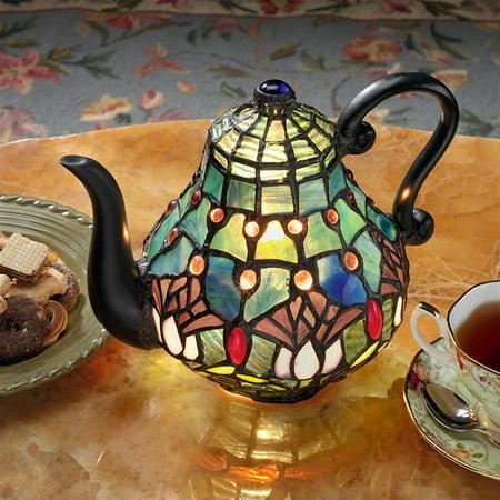 Design Toscano Victorian Teapot Tiffany-Style Stained Glass Illuminated