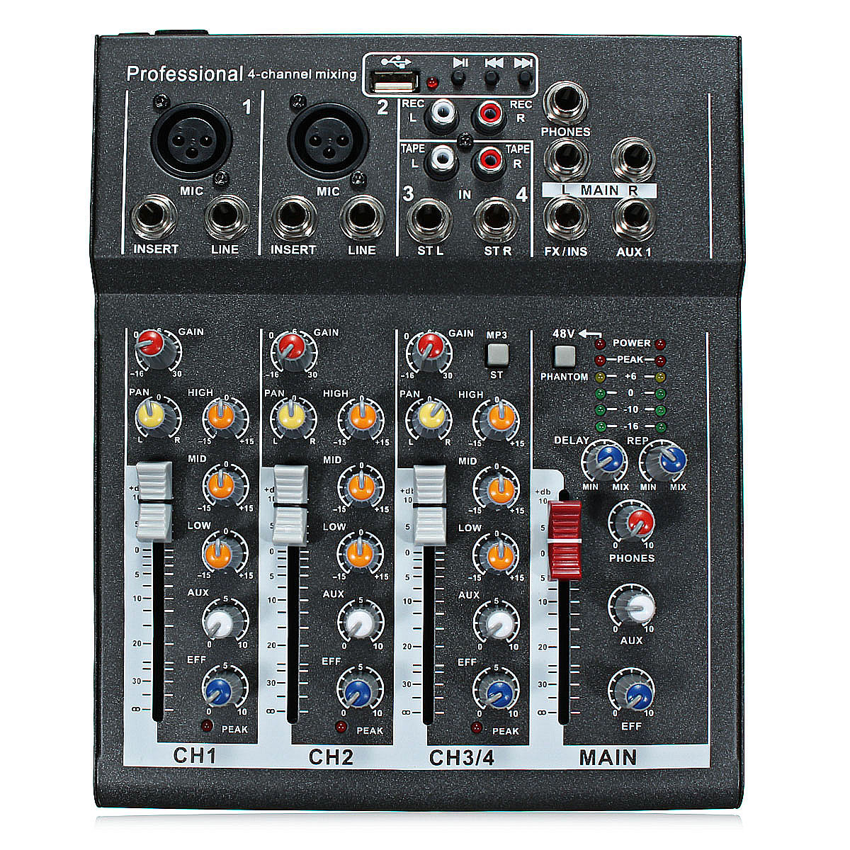 4 Channel USB Mixing Console Professional Live Studio Audio Mixer 48V Phantom Power For Recording DJ Stage Karaoke