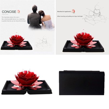 Iuhan 3D Pop Up Rose Ring Box Wedding Engagement Jewelry Storage Holder Case Bump