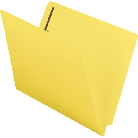 Fastener Folders Reinforced Tab Letter - Smead End Tab Fastener File Folder, Shelf-Master® Reinforced Straight-Cut Tab, 2 Fasteners, Letter Size, Yellow, 50 per Box (25940)