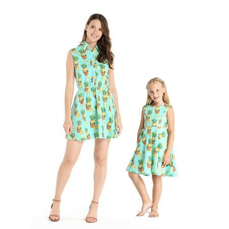 Matching Hawaiian Luau Mother Daughter Shirt Dress and Vintage Dress in Halloween Pineapple Skull - Mother And Daughter Halloween Costumes Matching