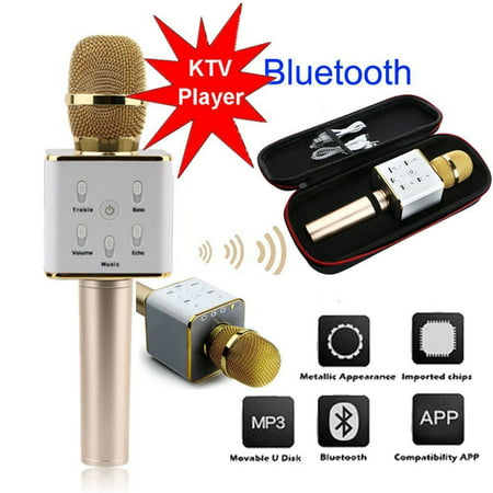 New wireles s bluetoot h Karaoke Microphone Speaker Home Music Singing Q9 Super Bass wireles s bluetoot h Mobile Phone Karaoke Microphone Handheld KTV Singing Speaker for IOS for Android, - Bass Microphone