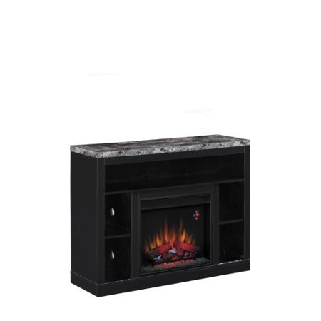 Adams TV Stand with 23″ Infrared Quartz Fireplace, Coffee Black
