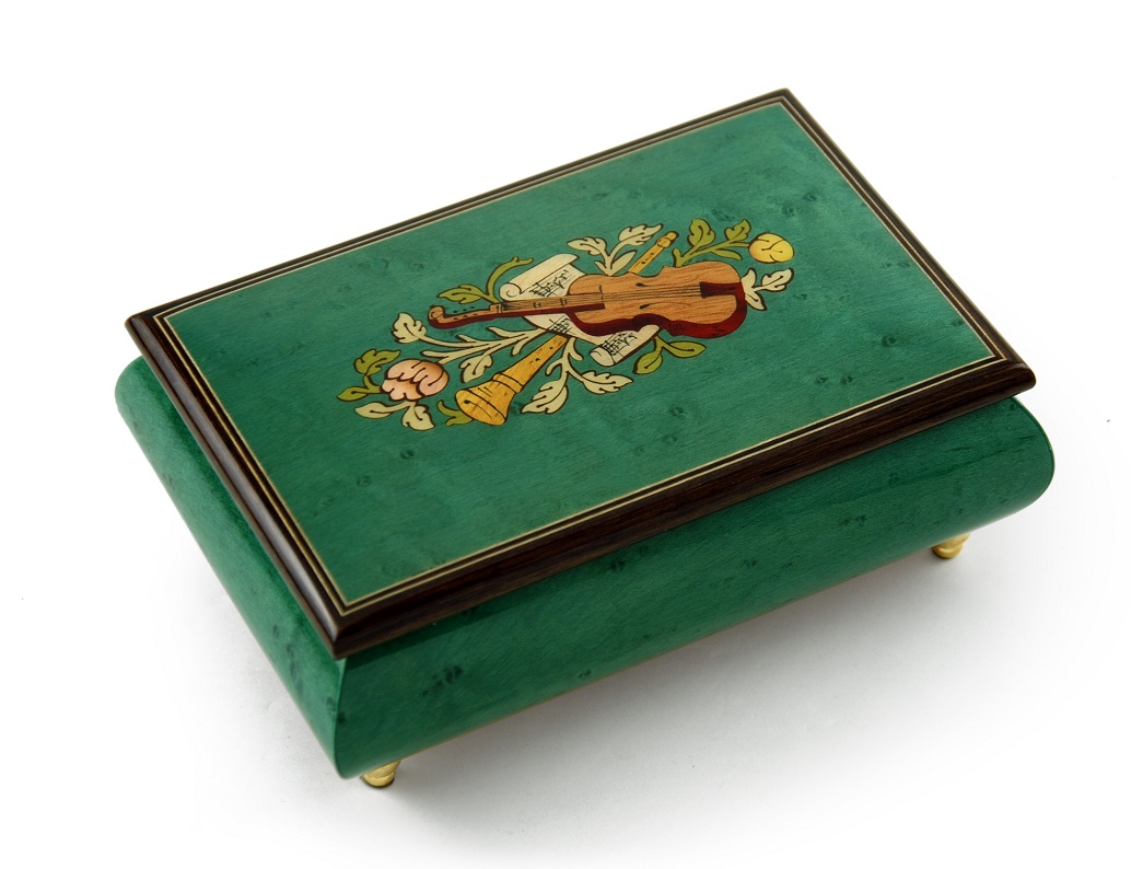 Brilliant Handcrafted 30 Note Mint Green Musical Instrument Theme Wood Inlay Music Box by MusicBoxAttic