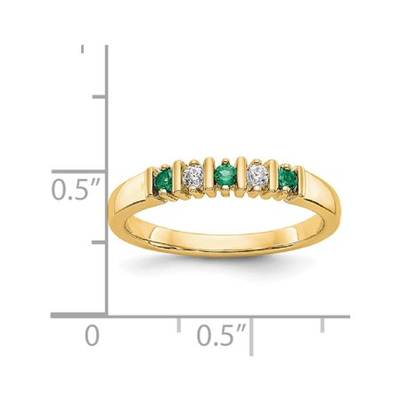 USA - 14k Yellow Gold 2.25mm Emerald AA Diamond Anniversary Band - image 2 de 2