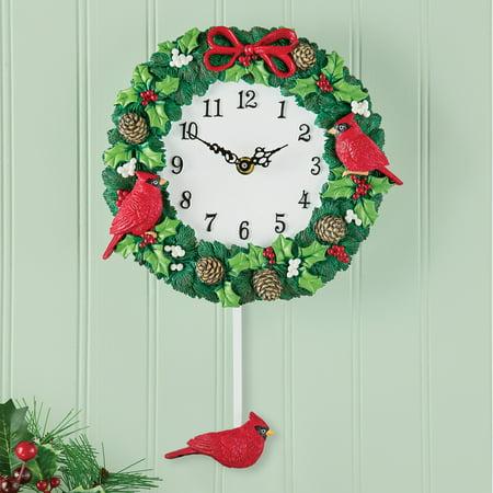 Hand Painted Cardinal Wreath Christmas Wall Clock with Pendulum, Artistic Indoor Home Holiday Decoration (Winding Pendulum Wall Clock)
