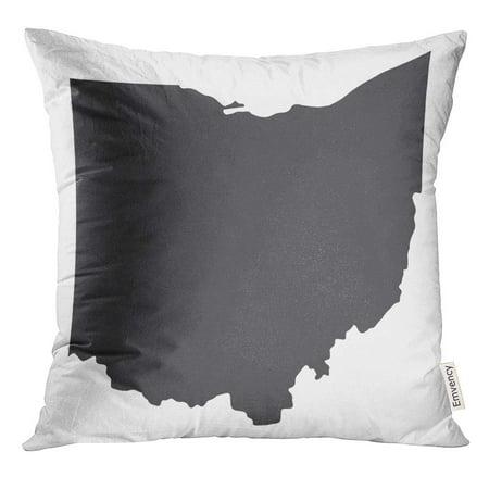 Arhome Cincinnati Ohio State Map In Black On White Shape Pillow Case 16x16 Inches Pillowcase