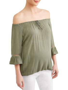 591dd2d2cd5a9b Product Image Maternity Off the Shoulder Knit Top with Embroidered Sleeve