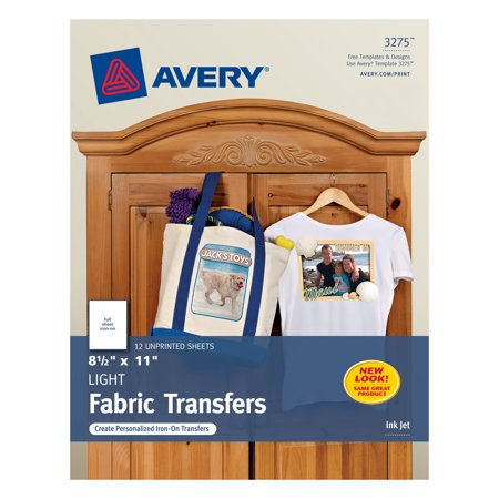 "Avery Light T-Shirt Transfers, 8-1/2"" x 11"", 12 Transfers (3275)"