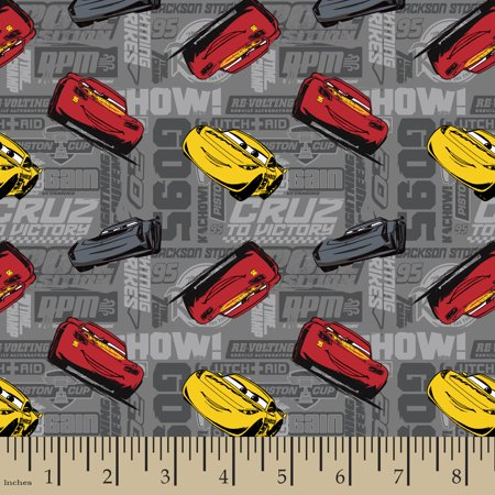 Disney Pixar Cars Fabric - Disney Pixar Cars Toss Cotton Fabric By The Yard