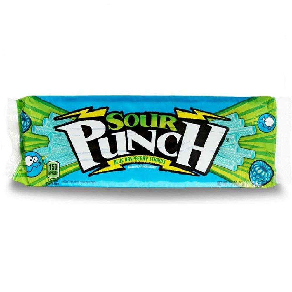 (3 Pack) Sour Punch Straws, Sour Blue Raspberry Soft & Chewy Candy, 4.5oz