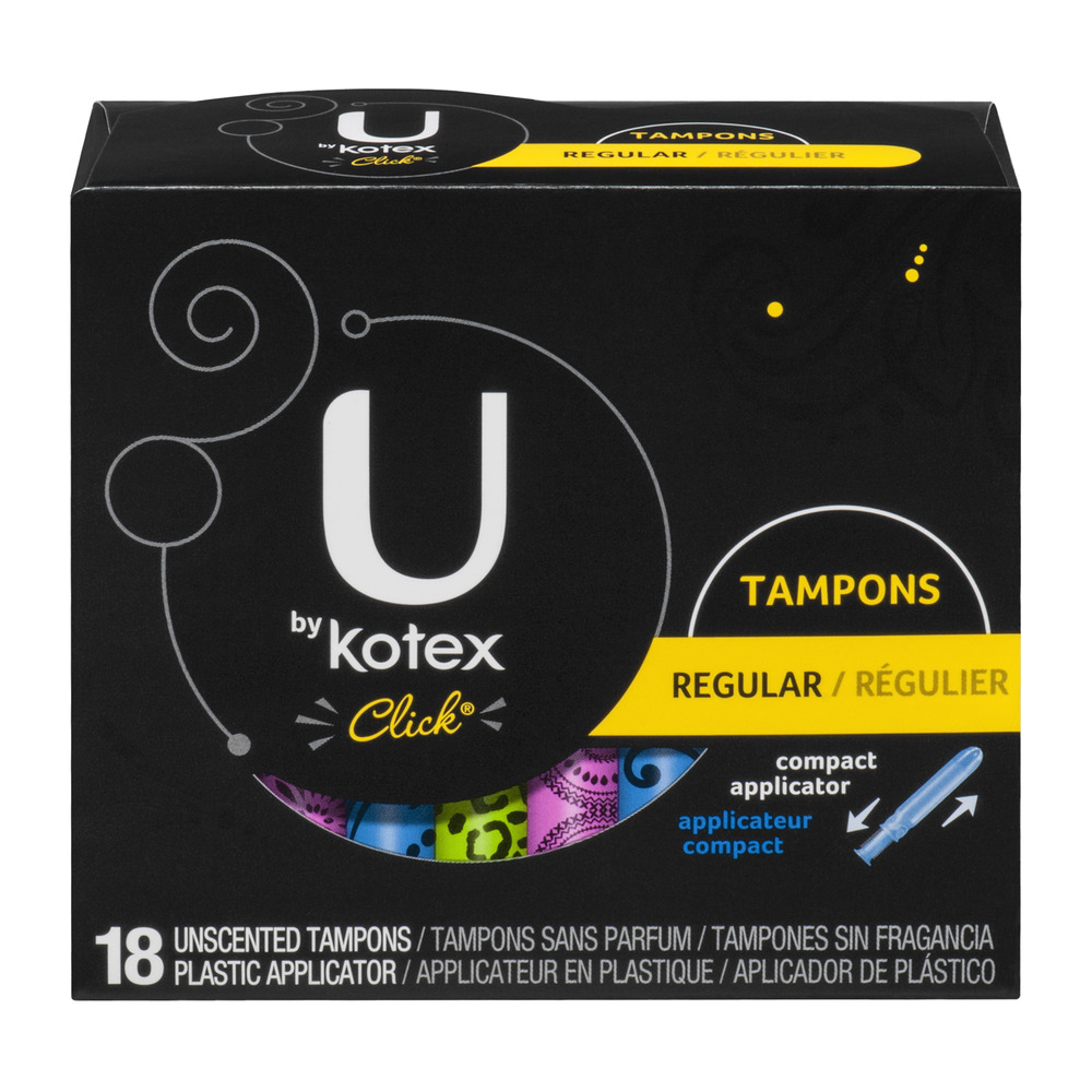 U by Kotex Click Unscented Plastic Tampons Regular - 18 CT