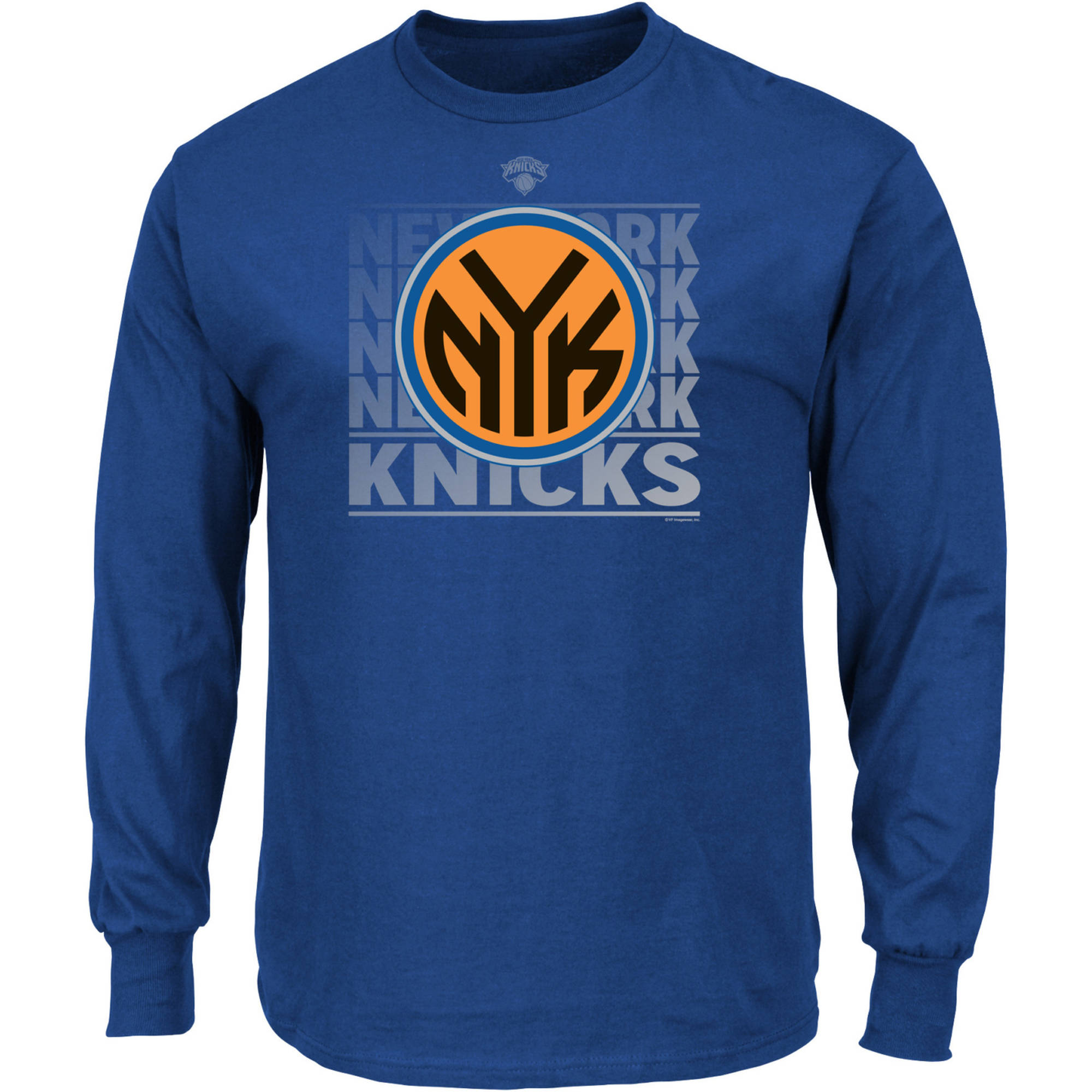 NBA New York Knicks Men's Long Sleeve Crew Neck Basic Tee