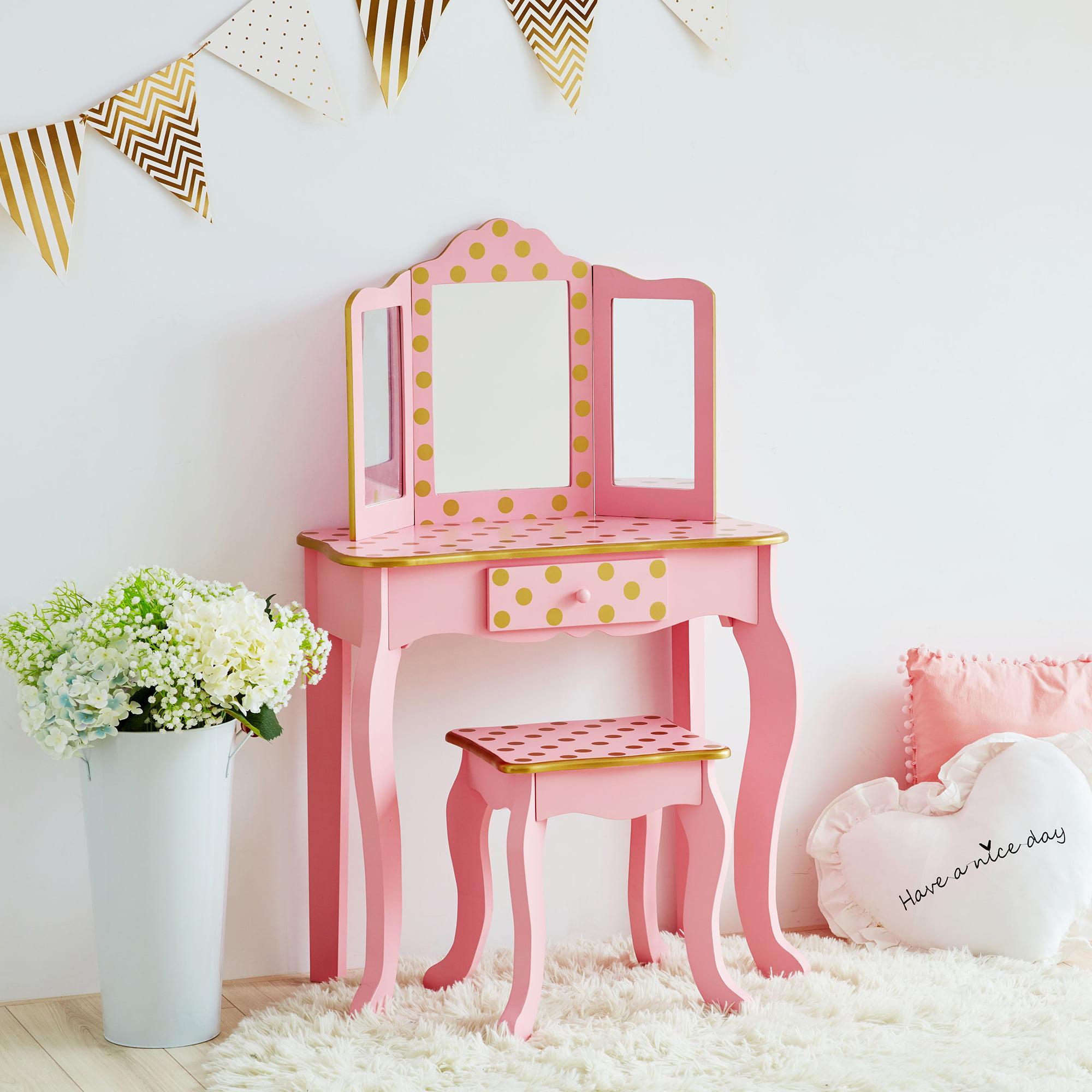 Teamson Kids - Fashion Polka Dot Prints Gisele Toy Vanity Set - Pink / Rose gold