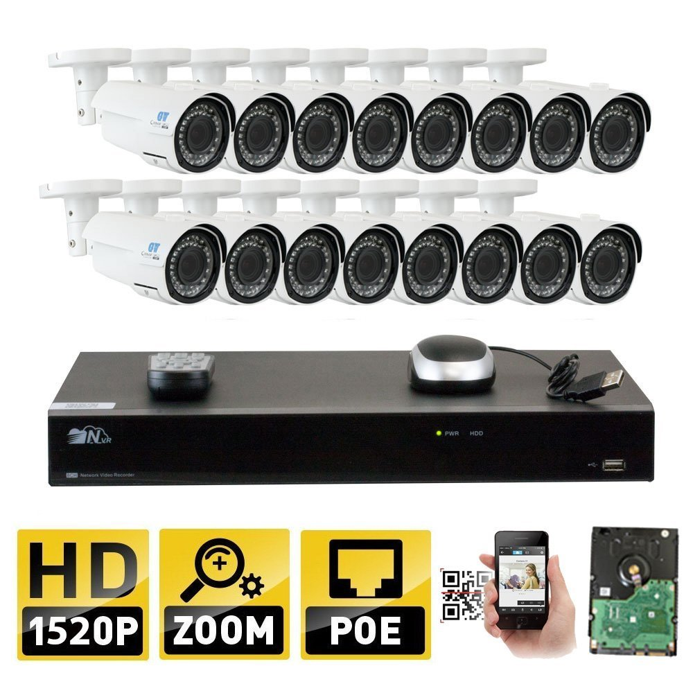 GW 16 Channel H.265 NVR 4-Megapixel (2592 x 1520) 4X Optical Zoom Network Video Security System, 16pcs 4MP 1520p 2.8-12mm Motorized Zoom POE Weatherproof Bullet IP Cameras, 130ft Night Vision