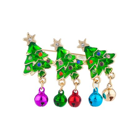 Lux Accessories Gold Tone Green Christmas Tree Metallic Bells Rhinestone Pin
