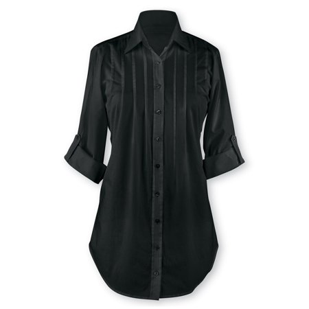 Pintuck and Pleated Button Front Tunic Top with Roll-Tab Sleeves, Great for Everyday Wear