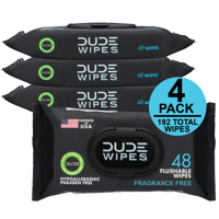 DUDE Wipes Flushable Wipes, Unscented, 4 packs of 48 wipes, 192 wipes total