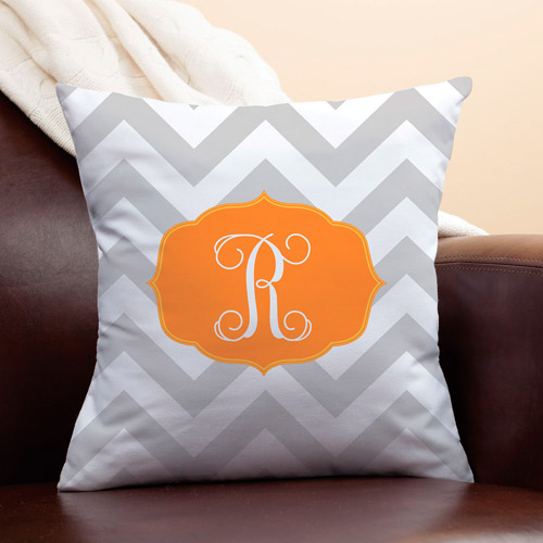 Personalized Chevron Initial Pillow