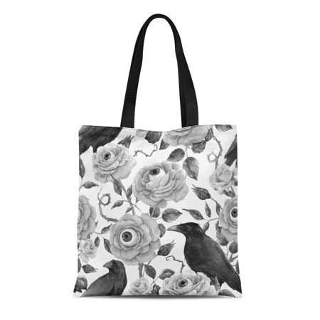 ASHLEIGH Canvas Tote Bag Watercolor Gothic Halloween Pattern Red Roses Eyeballs and Black Reusable Shoulder Grocery Shopping Bags Handbag
