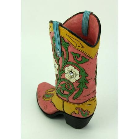 Jewel Accented Distressed Pink Cowboy Boot Flower Vase - image 1 de 3