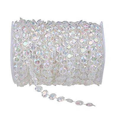 Clear Iridescent 99 ft Clear Crystal Like Beads by The roll - Wedding Decorations