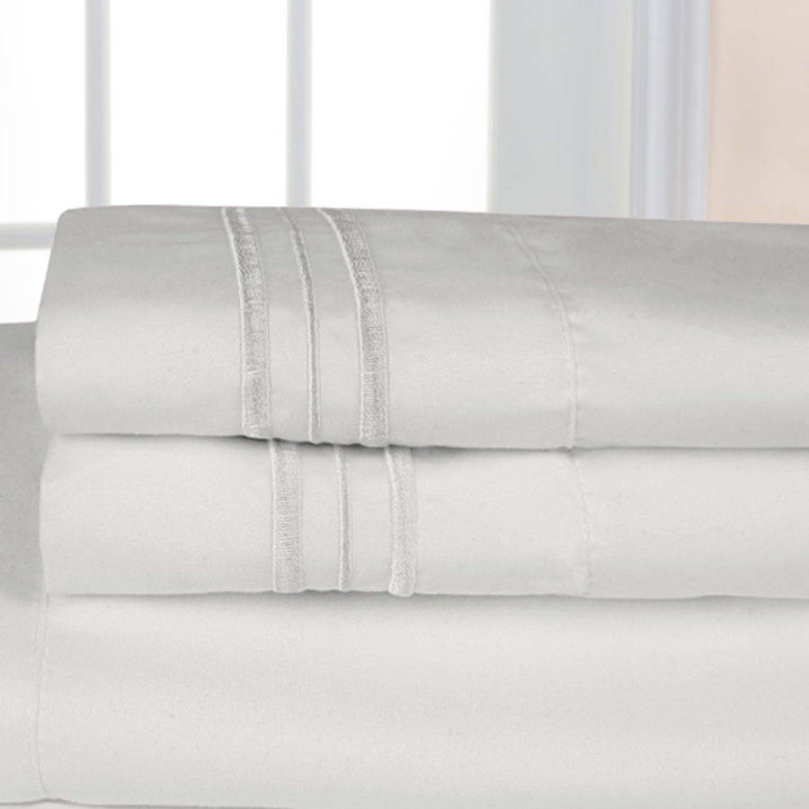 Ultrasoft 1500 Series Microfiber Embroidered Solid Color Bedroom pillow case, 2-Pack