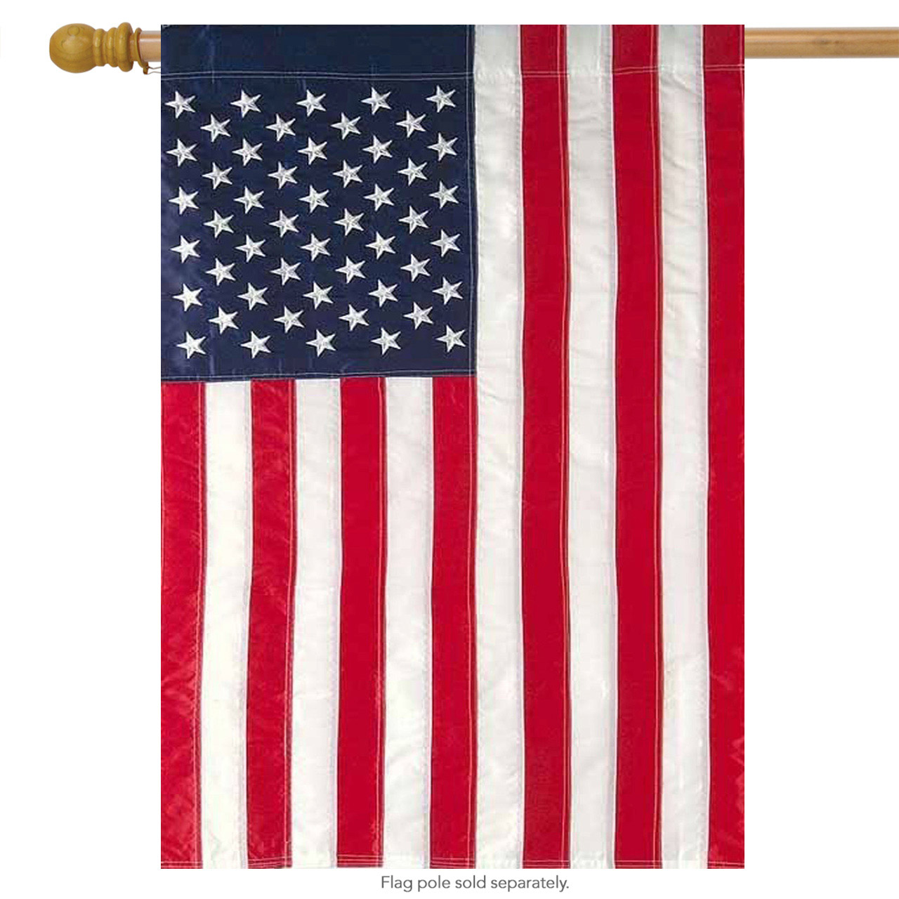 """American Flag Applique & Embroidered House Flag Stars & Stripes USA 28"""" x..."""
