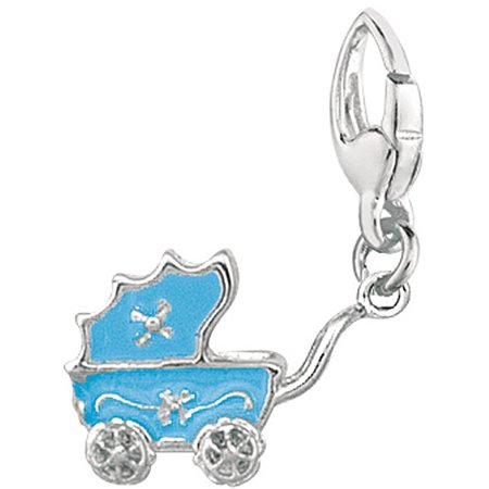 Women's Sterling Silver Blue Baby Carriage Clip-On Charm