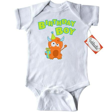 Inktastic Birthday Boy Infant Creeper Baby Bodysuit Birthdays Boys Monster Cute Fun Present Hat Party Orange Green Blue Kid Celebrate Annual Gift Year Turning First Friends Celebration Horns