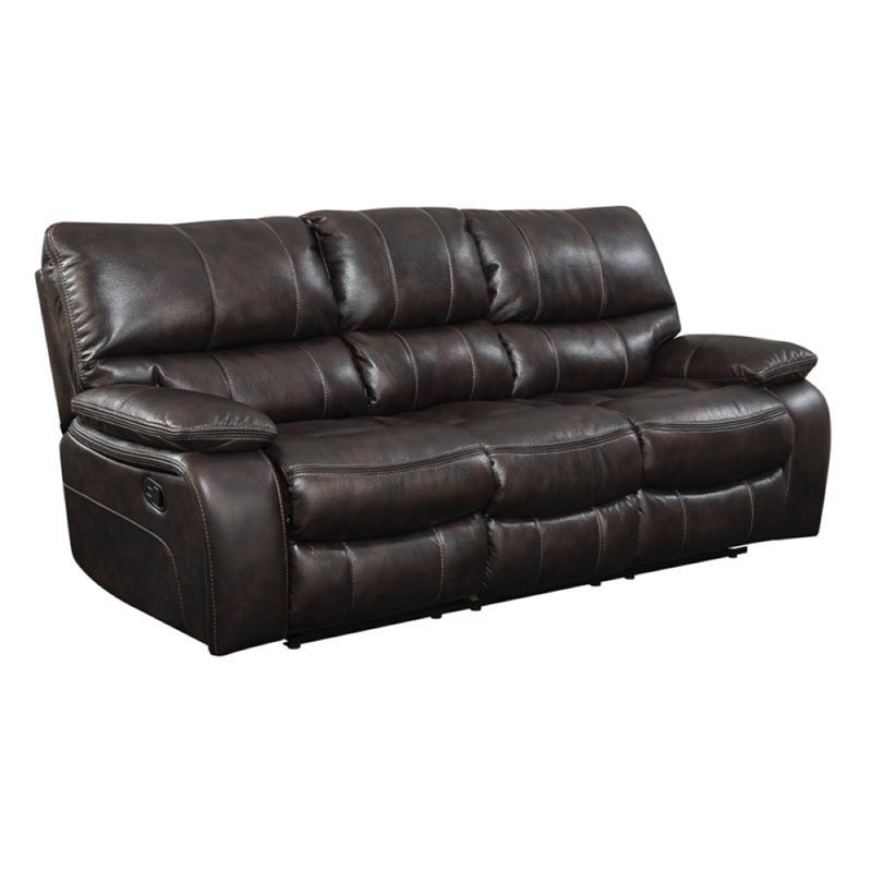 Bowery Hill Faux Leather Reclining Sofa in Chocolate