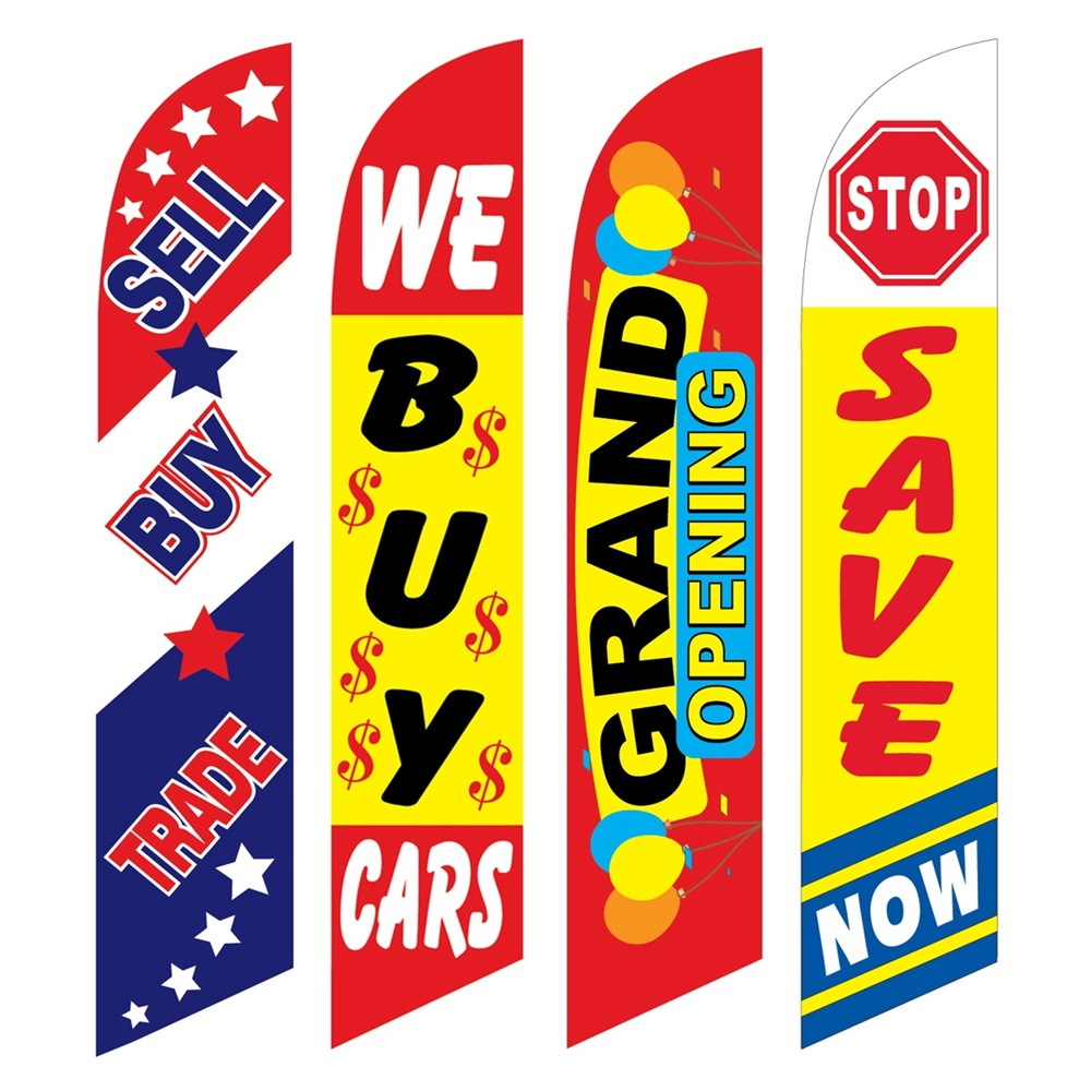 4 Advertising Swooper Flags Sell Buy Trade We Buy Cars Grand Opening Save Now