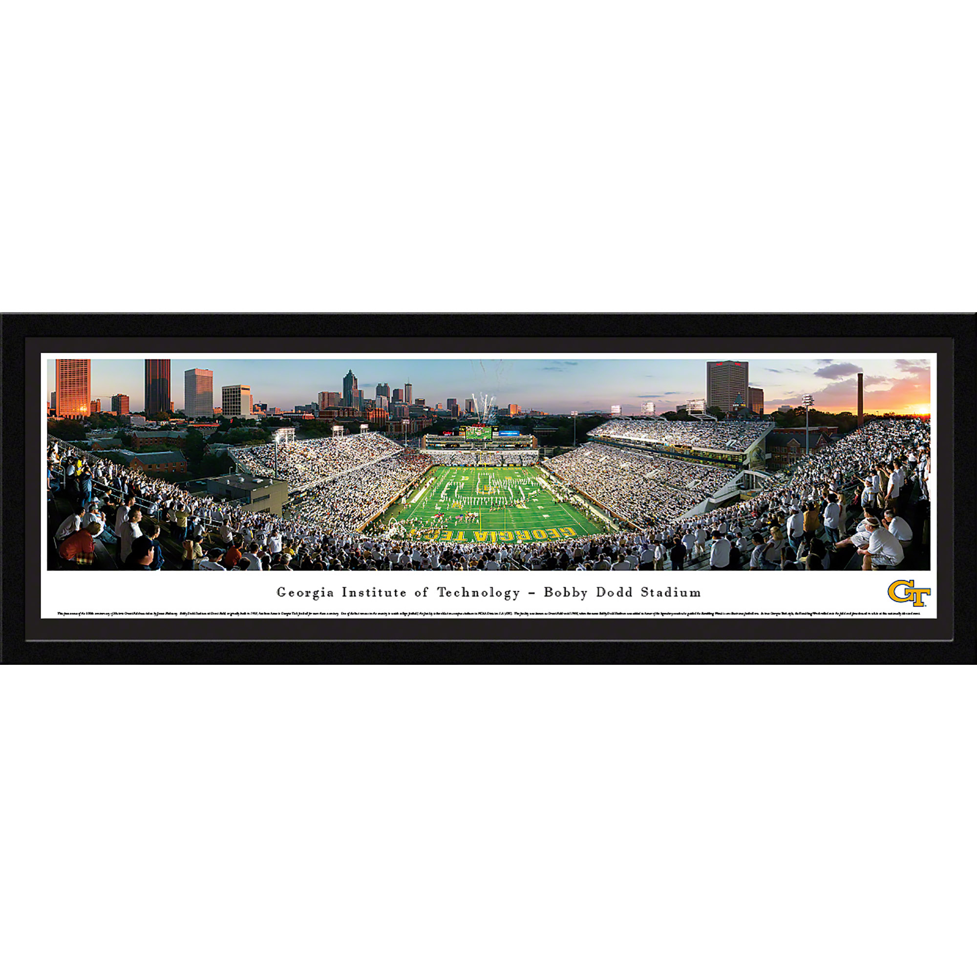 Georgia Tech Yellow Jackets Football - End Zone View in Bobby Dodd Stadium - Blakeway Panoramas NCAA College Print with Select Frame and Single Mat