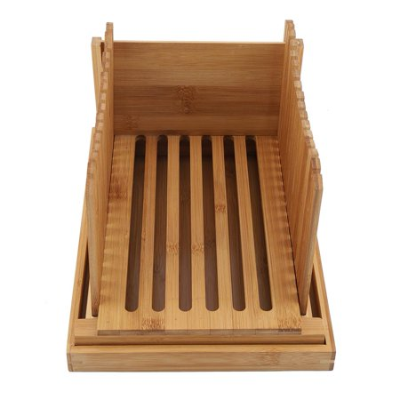 Qiilu Foldable Bamboo Bread Slicer Guide with Crumb Catching Tray, Bamboo Bread Slicer Guide,Bread Slicer Guide - image 9 of 13