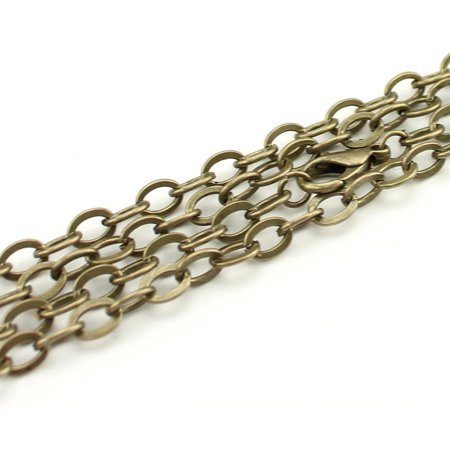 Bronze Necklace Chain - 5 Pack - CleverDelights Cable Chain Necklaces - 24
