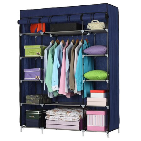 Ktaxon 53 Portable Closet Storage Organizer Wardrobe Clothes Rack With Shelves Blue