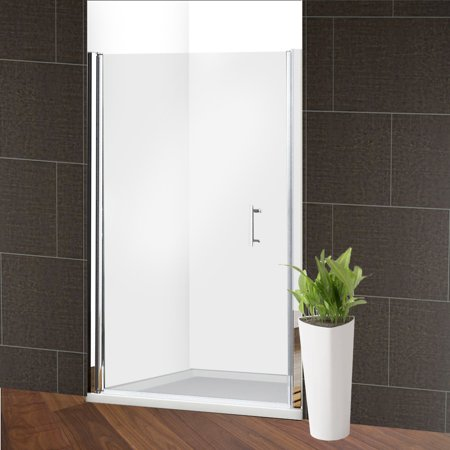 ALEKO 1/4'' Glass Pivot Shower Door - 48 x 72 Inches - Chrome Custom Pivot Shower Door